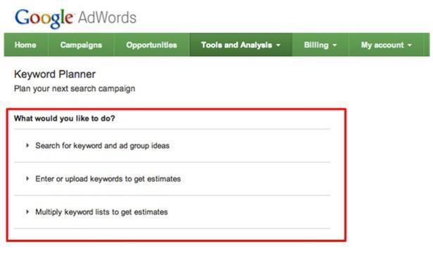 keyword tool missing